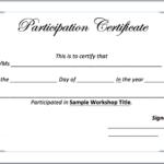 Workshop Participation Certificate Template – Word Templates With Certificate Of Participation In Workshop Template