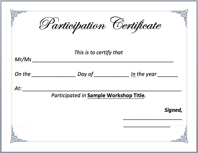 Workshop Participation Certificate Template - Word Templates with Certificate Of Participation In Workshop Template