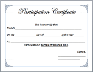 Workshop Participation Certificate Template – Word Templates with regard to Unique Workshop Certificate Template