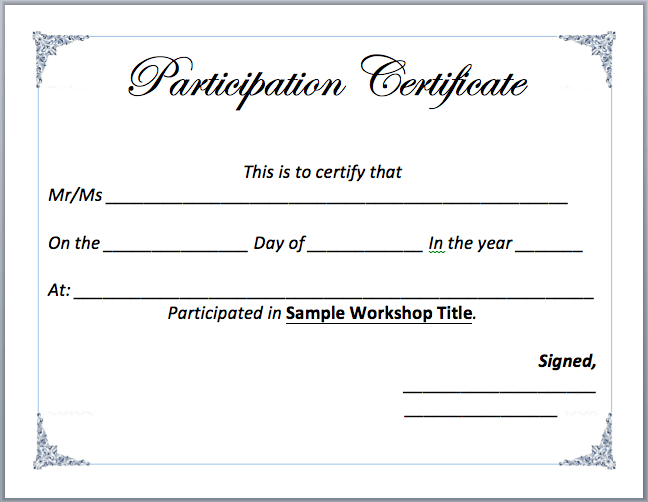 Workshop Participation Certificate Template - Word Templates with regard to Unique Workshop Certificate Template