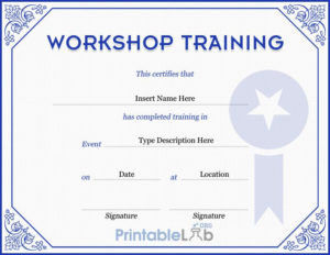 Workshop Training Certificate Format In Periwinkle, Sapphire with Unique Workshop Certificate Template