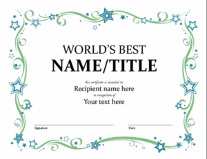 World'S Best Award Certificate intended for Congratulations Certificate Template 10 Awards