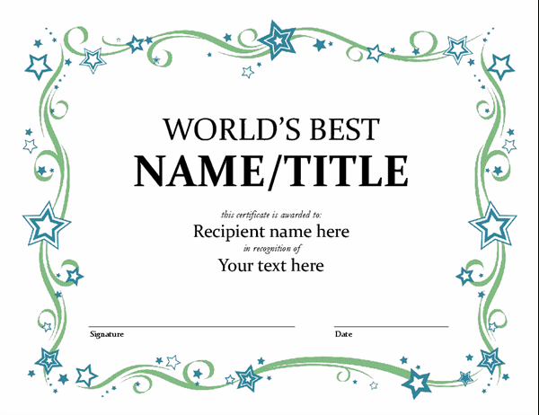 World'S Best Award Certificate pertaining to Quality Microsoft Word Award Certificate Template