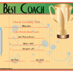 World'S Best Coach Certificate Printable Certificate With Regard To Best Coach Certificate Template