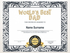 World'S Best Dad, Best Dad Award, Gift For Father'S Day, Editable  Certificate, Printable Father'S Day Award Template, Gift For Dad throughout Fresh Best Dad Certificate Template