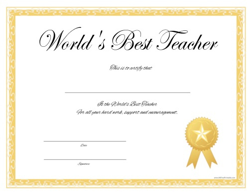 World'S Best Teacher Certificate - Free Printable intended for Best Teacher Certificate Templates
