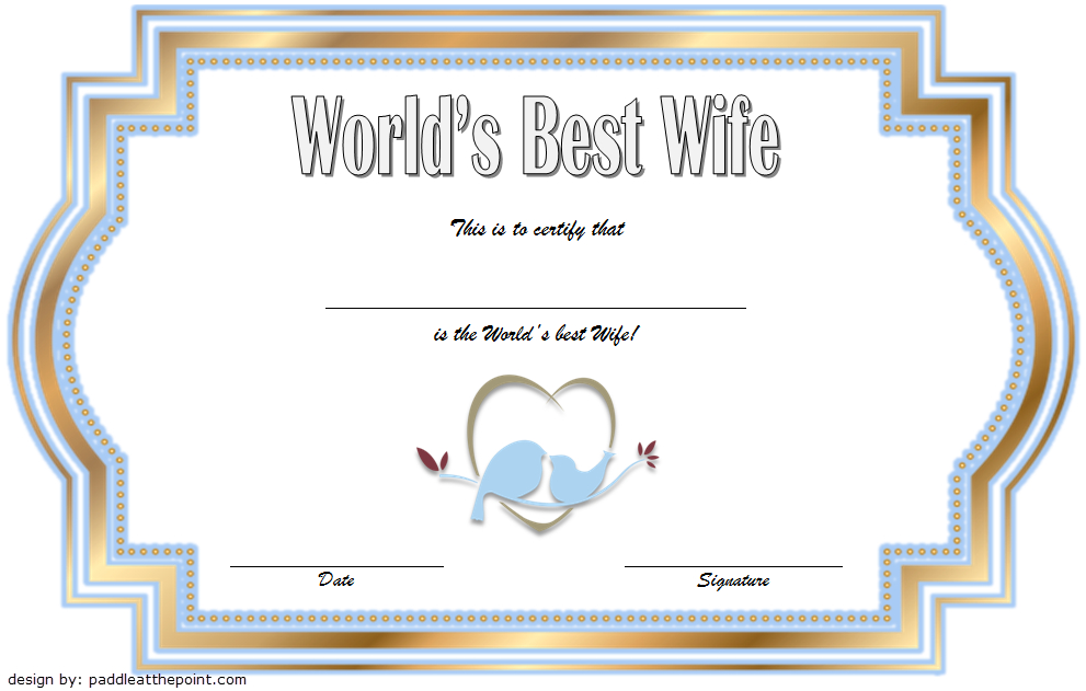 World'S Best Wife Certificate Template Free 1 | Good Wife inside Fresh Best Wife Certificate Template