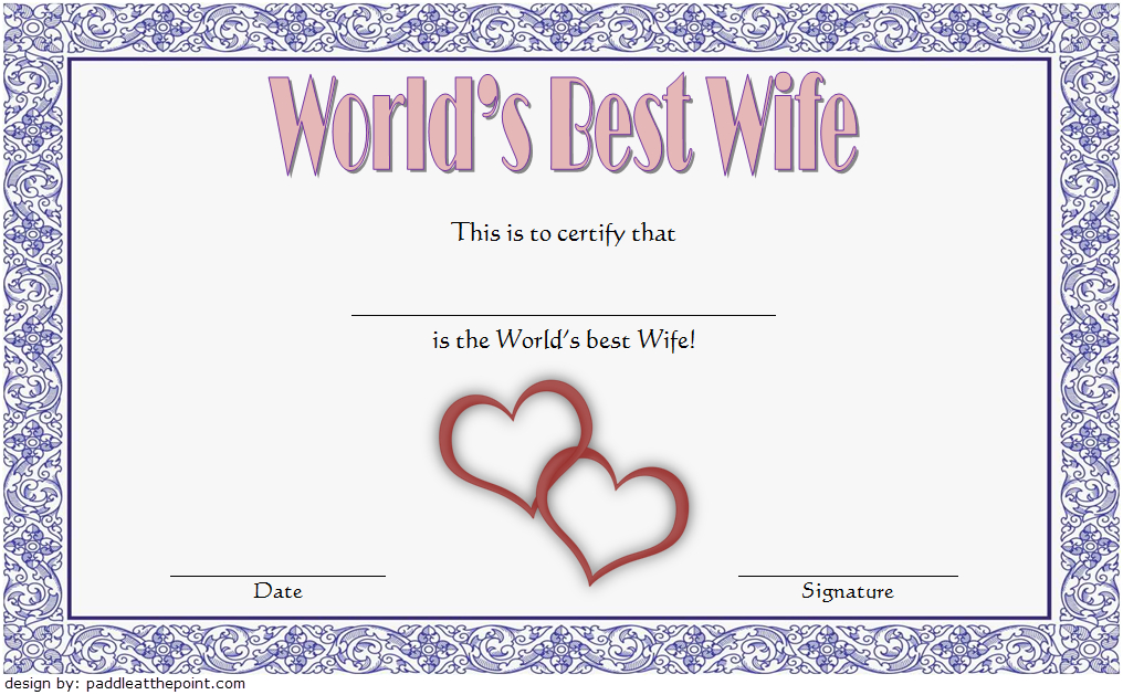 World'S Best Wife Certificate Template Free 4 | Certificate In Best Wife Certificate Template
