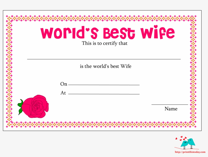 World'S Best Wife Certificate With Red Rose - World'S Best with regard to Fresh Best Wife Certificate Template