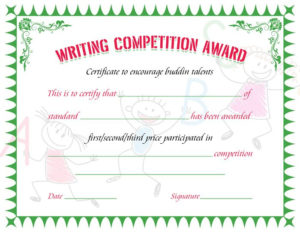 Writing Competition Award Certificate   Writing Competition regarding Writing Competition Certificate Templates