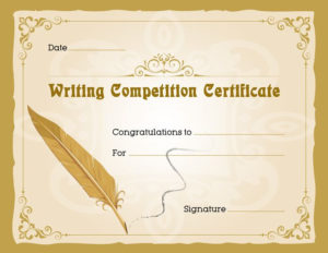 Writing Competition Award Certificate   Writing Competition within Quality Writing Competition Certificate Templates