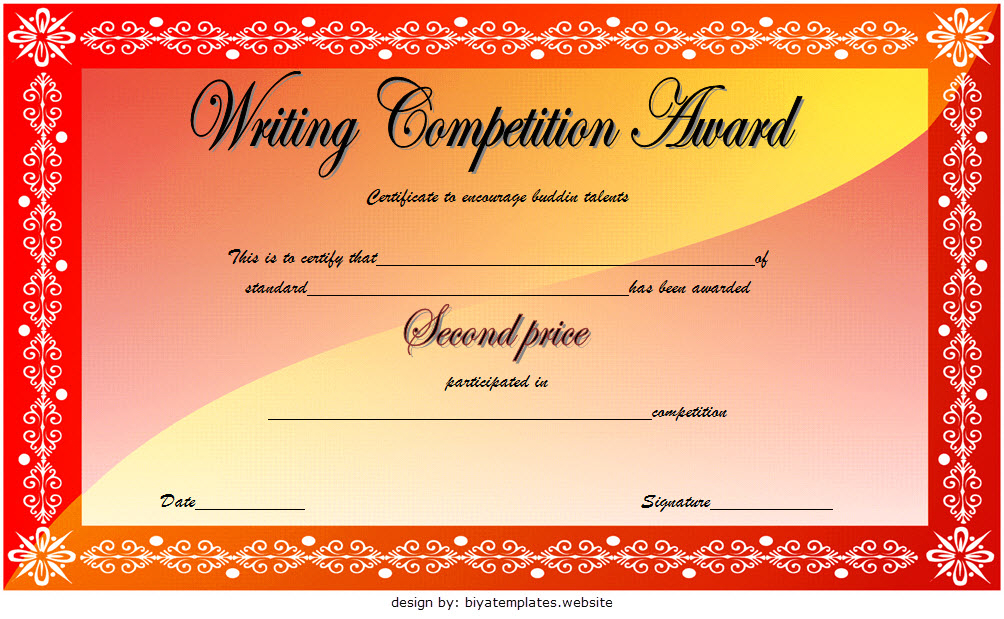 Writing Contest Winner Certificate Template Free 2   Writing throughout Writing Competition Certificate Templates