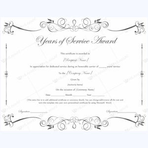 Years Of Service Award 02 – Word Layouts | Certificate Of with Long Service Certificate Template Sample
