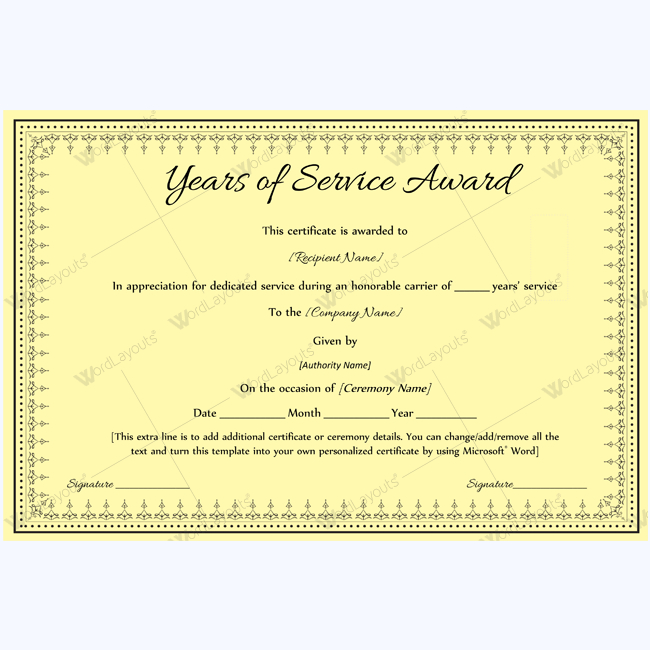 Years Of Service Award 08 - Word Layouts | Awards with regard to Years Of Service Certificate Template Free 11 Ideas