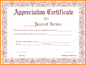 Years Of Service Award Templates | Certificate Templates intended for Certificate For Years Of Service Template