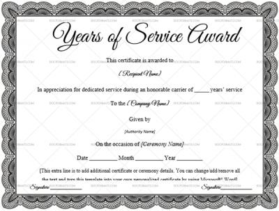 Years Service Award Certificate: 10+ Printable & Editable within Certificate For Years Of Service Template
