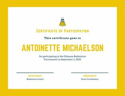Yellow Badminton Icon Sport Certificate inside Unique Badminton Certificate Templates
