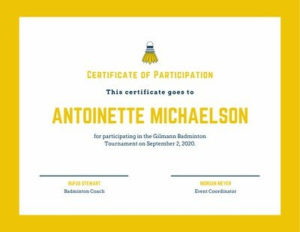 Yellow Badminton Icon Sport Certificate pertaining to Unique Badminton Certificate Template