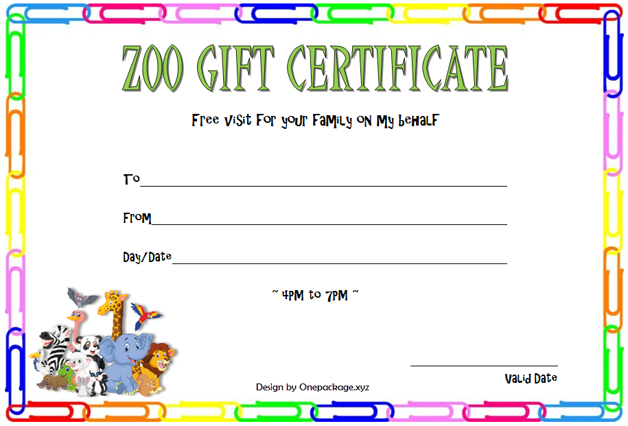 Zoo Gift Certificate Template Free (2Nd Design) | Gift in Zoo Gift Certificate Templates Free Download