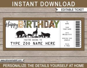 Zoo Ticket Printable Birthday Gift Voucher – Surprise Trip To The Zoo –  Instant Download With Editable Text – You Edit At Home pertaining to Zoo Gift Certificate Templates Free Download