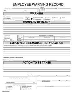10 Best Employee Write Up Form Printable Images | Employee inside Daycare Business Plan Template Free Download