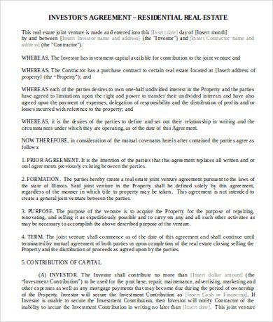 11+ Real Estate Investment Agreement Examples & Templates inside Fresh Real Estate Investment Business Plan Template