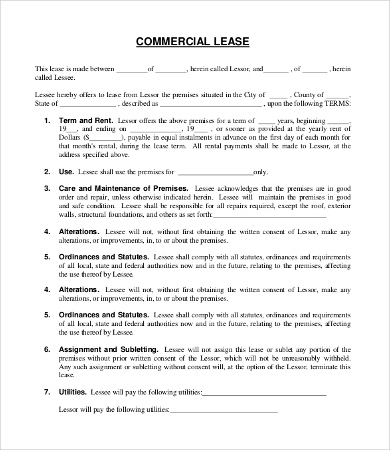 11+ Simple Commercial Lease Agreement Template For pertaining to New Business Lease Agreement Template Free