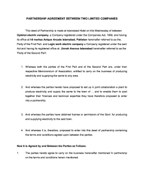 16 Printable Business Agreement Between Two Parties Forms with regard to Business Partnership Agreement Template Pdf