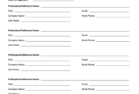 18 Printable Professional Reference List Forms And within Free Business Directory Template