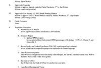 18 Printable Sample Minutes Of The Meeting In School Forms intended for School Board Agenda Template