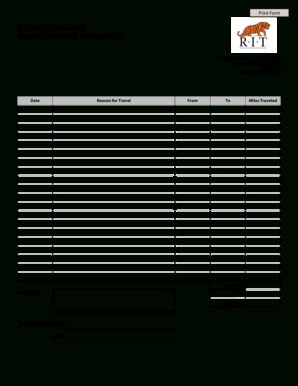 24 Printable Business Mileage Tracking Log Forms And for Business Trip Report Template Pdf