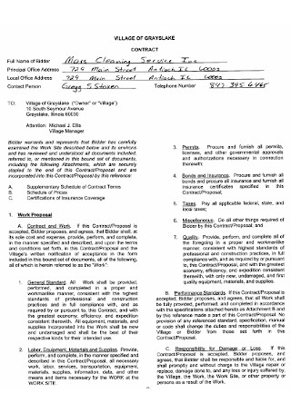 33+ Sample Cleaning Contract Templates In Pdf   Ms Word intended for Cleaning Business Contract Template