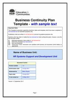 42 Best Business Continuity Planning Images   Business inside Unique Business Continuity Checklist Template