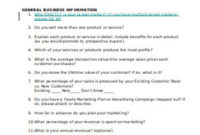 46+ Sample Sales And Marketing Questionnaire Templates In pertaining to Best Business Plan Questionnaire Template