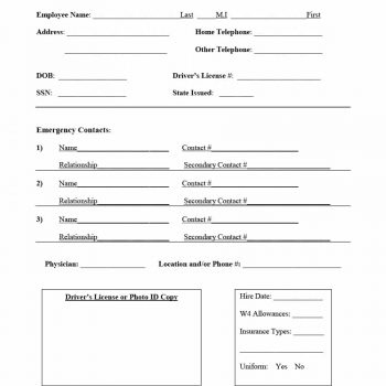 47 Printable Employee Information Forms (Personnel for Business Information Form Template
