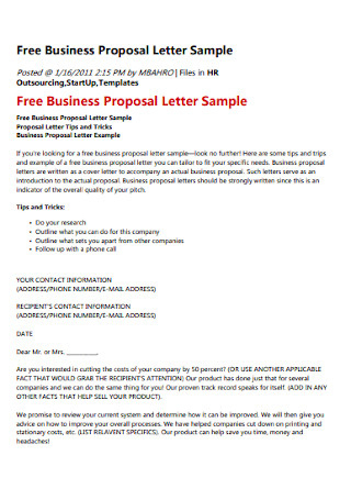 47+ Sample Proposal Letters In Pdf | Ms Word within Business Idea Template For Proposal