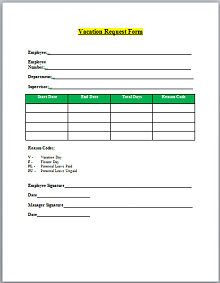 55+ Employee Vacation Request Form Templates » Excelshe pertaining to Best New Hire Business Case Template