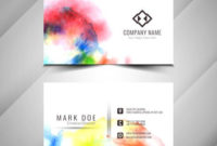 Abstract Beautiful Watercolor Business Card Design within Business Card Powerpoint Templates Free