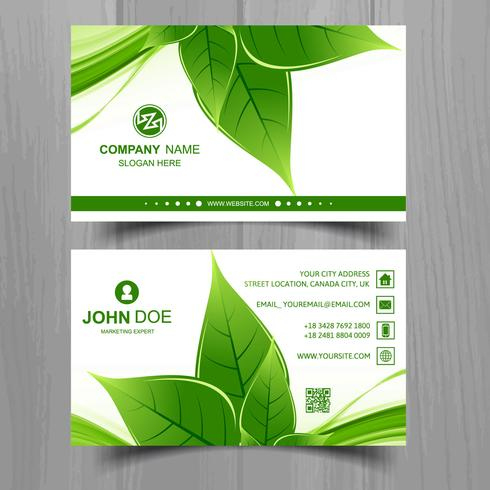 Abstract Leaf Business Card Template Design - Download within Best Business Card Powerpoint Templates Free