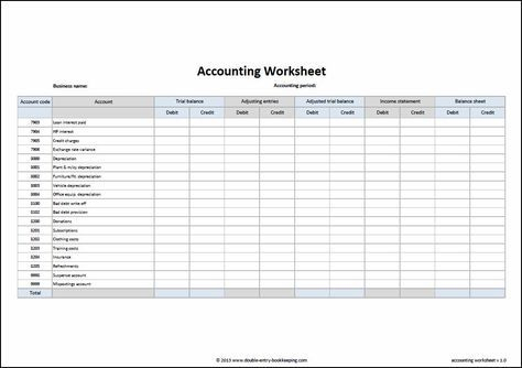 Accounting Worksheet Template   Bookkeeping, Accounting intended for Bookkeeping Templates For Small Business Excel