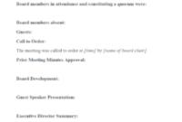 Advisory Board Meeting Agenda Template within Committee Meeting Agenda Template