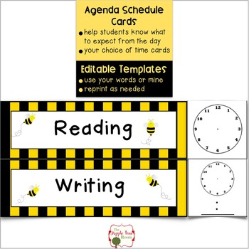 Agenda Schedule Cards {Editable} - Busy Bee Themethe in Level 10 Meeting Agenda Template