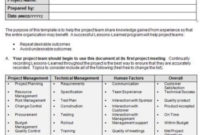 Agile Lessons Learned Templates: Document Examples And throughout Business Process Document Template