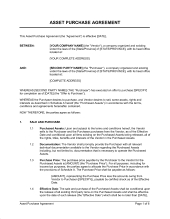 Asset Purchase Agreement For A Retail Business Template in Fresh How To Make A Business Contract Template