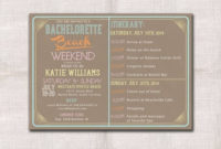 Bachelorette Party Weekend Invitation And Itinerary Custom pertaining to Bachelorette Party Agenda Template
