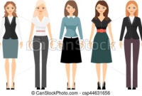 Beautiful Women In Different Style Clothes Vector Icons On within Best Business Attire For Women Template