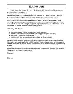 Best Data Entry Cover Letter Examples   Livecareer for Australian Business Letter Template