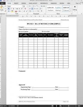Bill Of Materials Report Template with New Business Review Report Template