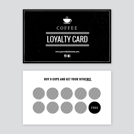 Black & White Cafe Stamp / Loyalty Card - Easil with regard to Unique Coffee Business Card Template Free