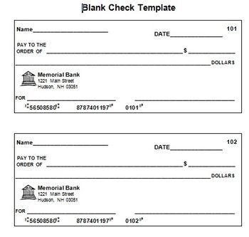 Blank Check Template   Blank Check, Printable Checks throughout Blank Business Check Template